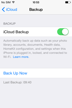 iPhone monitoring - enable backup